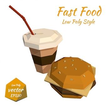 Hamburger e una tazza di caffè di plastica e un'illustrazione della paglia