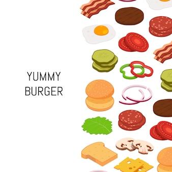 Hamburger isometrico con sfondo di ingredienti di colore