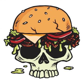 Hamburger morto del cranio, illustrazione di vettore delle patate fritte di hamburger