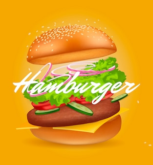 Hamburger realistico. fast food.