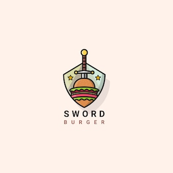 Hamburger spada icona logo