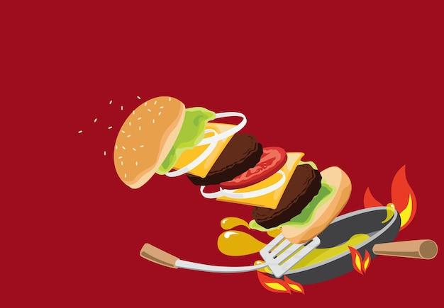 Hamburger sulla padella disegno vettoriale.