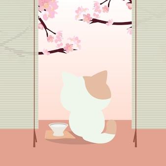 Hanami festival. festival dei fiori di ciliegio in giappone con un gatto