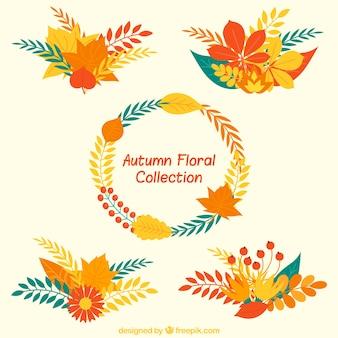 Hand-drawn selezione floreale in colori caldi
