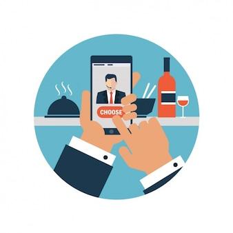 Hand in possesso di uno smartphone e premendo il pulsante scegliere