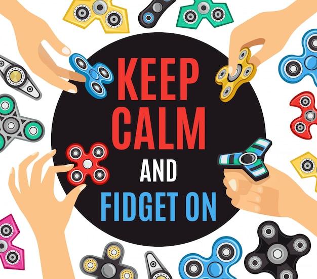 Hand spinner fidget poster pubblicitario
