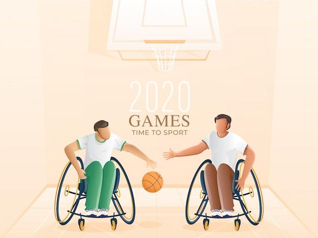 Handicap sportivi che giocano a basket e cerchio su sfondo pastello pesca per i giochi time to sport.