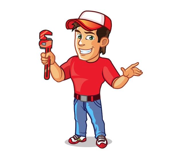 Handsome handyman cartoon mascot