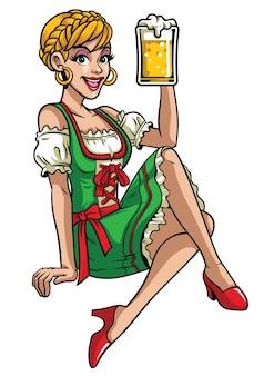 Happpy girl of oktoberfest indossa drindl e presenta la birra