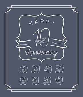 Happy anniversary card con decenni