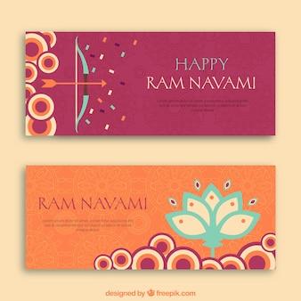 Happy banner rama navami con cerchi e forme floreali