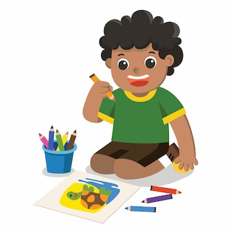Happy boy disegnare immagini matite e vernici sul pavimento vettore isolato.