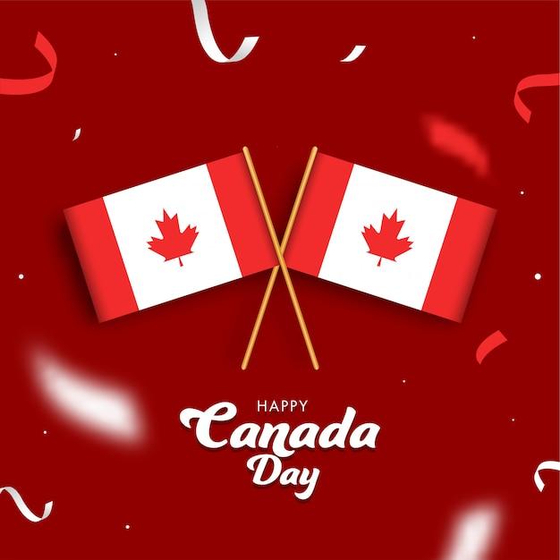 Happy canada day font con bandiere e nastri canadesi
