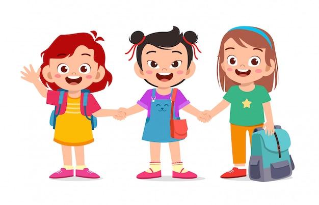 Happy cute kids girls ready to go to school