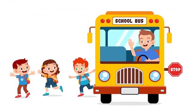 Happy cute kids ride bus from school
