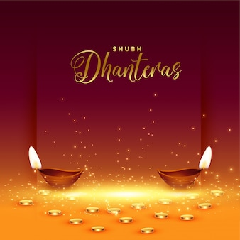 Happy dhanteras card con moneta d'oro e diya
