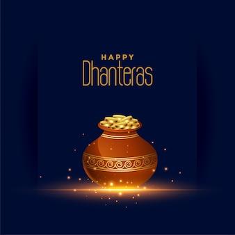 Happy dhanteras festival card con pentola moneta d'oro