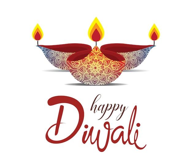 Happy diwali con mandala oil lamp design
