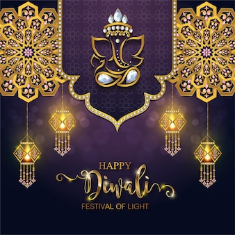 Happy diwali festival card.
