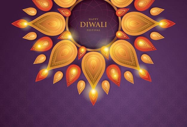 Happy diwali festival con lampada ad olio, arte di carta
