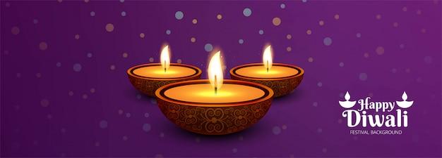 Happy diwali hindu holiday per il festival di luce diwali banner