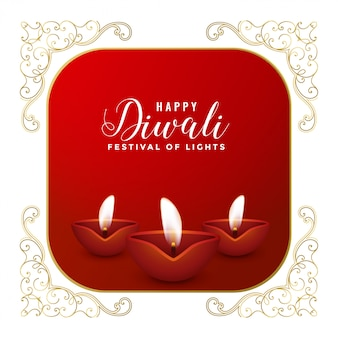 Happy diwali three diya festival card