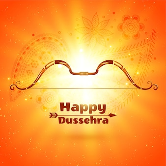Happy dussehra festival card con effetto luce incandescente