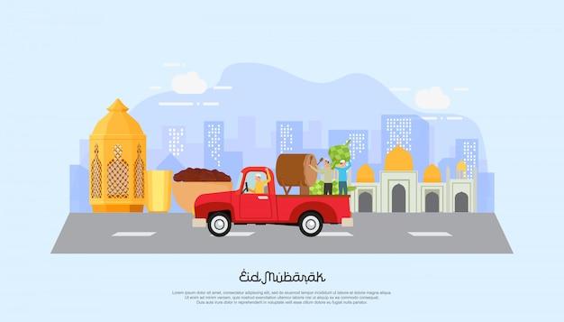 Happy eid mubarak con il personaggio delle persone.