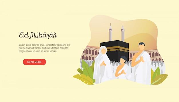 Happy eid mubarak con la pagina di destinazione dei personaggi