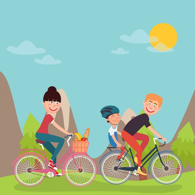 Happy family riding bikes in tho mountains. donna in bicicletta. padre e figlio.
