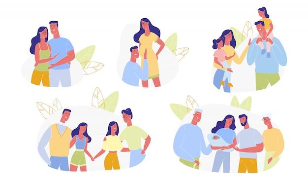 Happy family time line set, relazione di persone amorevoli