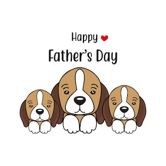 Happy father's day card con simpatici personaggi di cani.