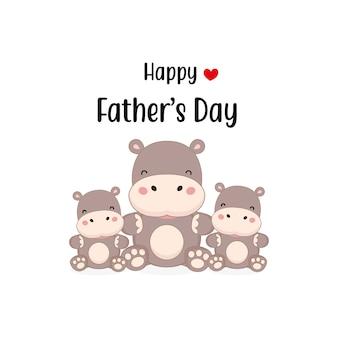Happy father's day card con simpatici personaggi di ippopotamo.