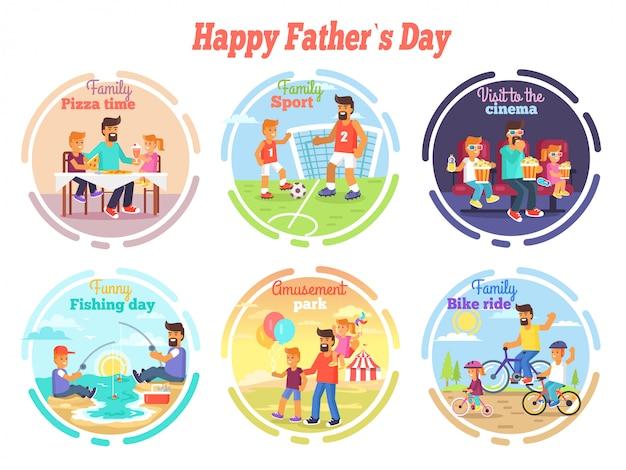 Happy fathers day celebration set di illustrazioni