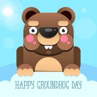 Happy groundhog day design con marmotta carina