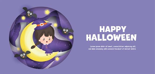 Happy halloween con la strega carina seduta sulla luna.