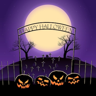 Happy halloween design con enormi lanterne di luna e stelle del cimitero di jack