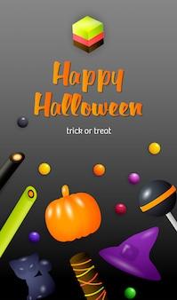Happy halloween, dolcetto o scherzetto lettering con caramelle di gelatina