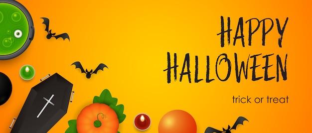 Happy halloween, dolcetto o scherzetto lettering con pipistrelli e pozione