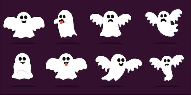 Happy halloween, ghost, spaventosi fantasmi bianchi. simpatico cartone animato personaggio spettrale. volto sorridente, mani.