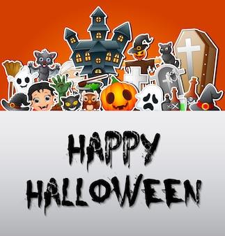 Happy halloween poster celebrazioni di carte