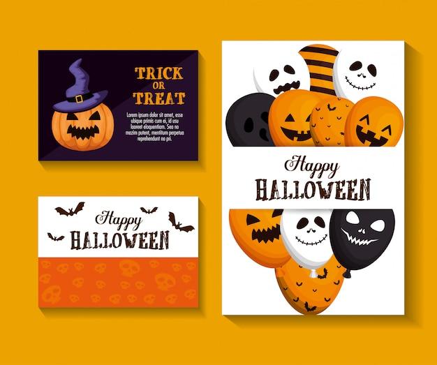 Happy halloween set set di carte