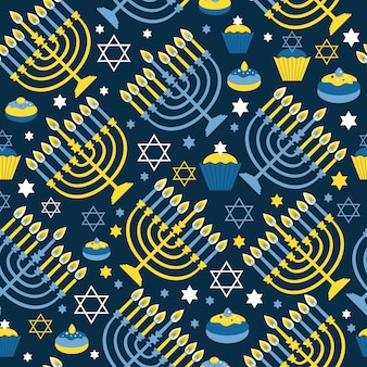 Happy hanukkah stampa seamless con menorah, david star