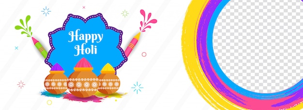 Happy holi intestazione o design banner decorato con pistole di colore e