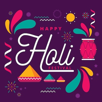 Happy holi lettering con decorazioni