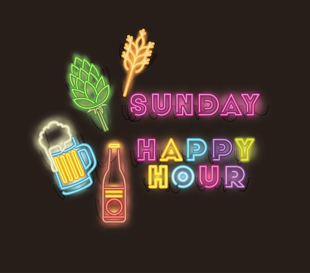 Happy hour con luci al neon font barattolo di birra