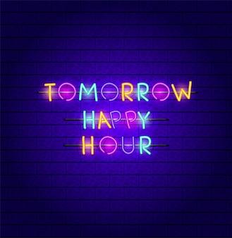Happy hour font luci al neon