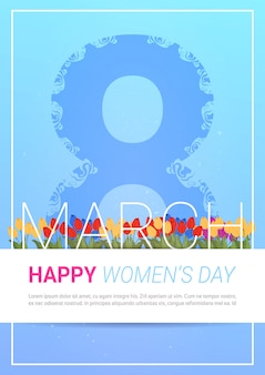 Happy international women day greeting card bella 8 marzo modello di sfondo con tulipani