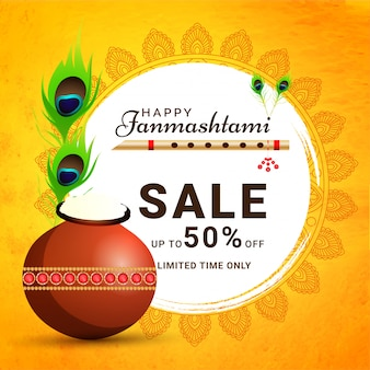 Happy janmashtami design del banner in vendita a tempo limitato