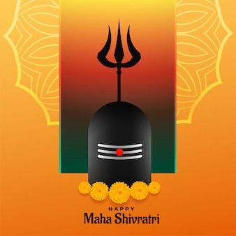 Happy maha shivratri festival backgrond con shivling